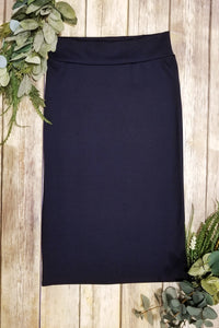 Plus Navy Pencil Skirt