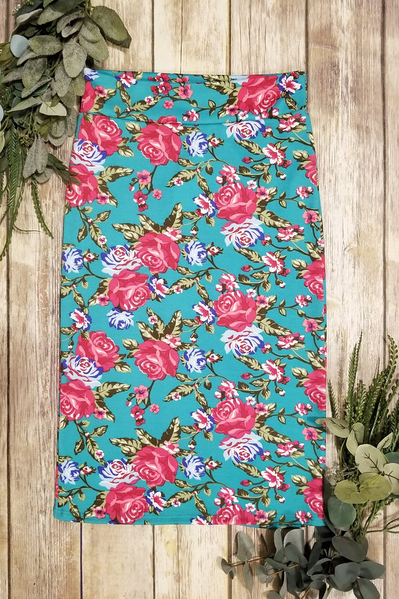 Teal & Pink Floral Pencil Skirt