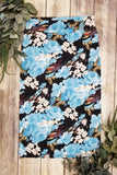 Black & Blue Floral Pencil Skirt