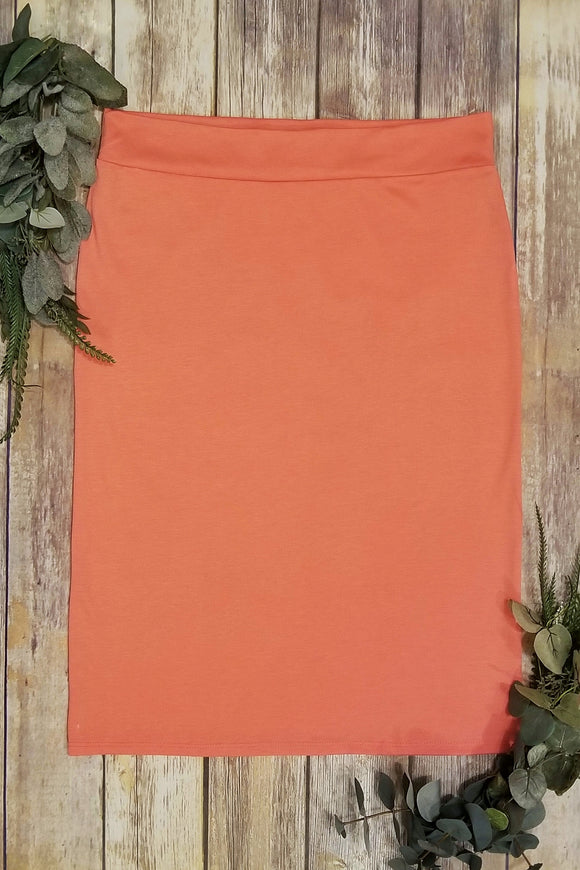 Plus Coral Pencil Skirt