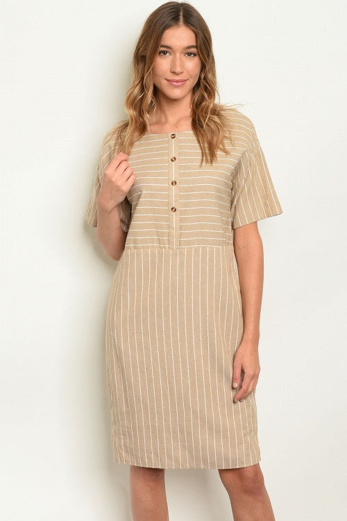 Jolee Striped Dress in Taupe