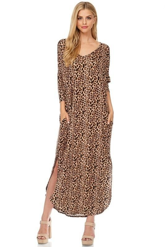 Alexa In Leopard 3/4 Sleeves - - Slim Dress
