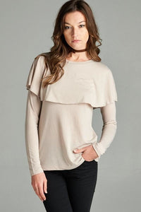 Ann Alise In Beige - - Slim Top