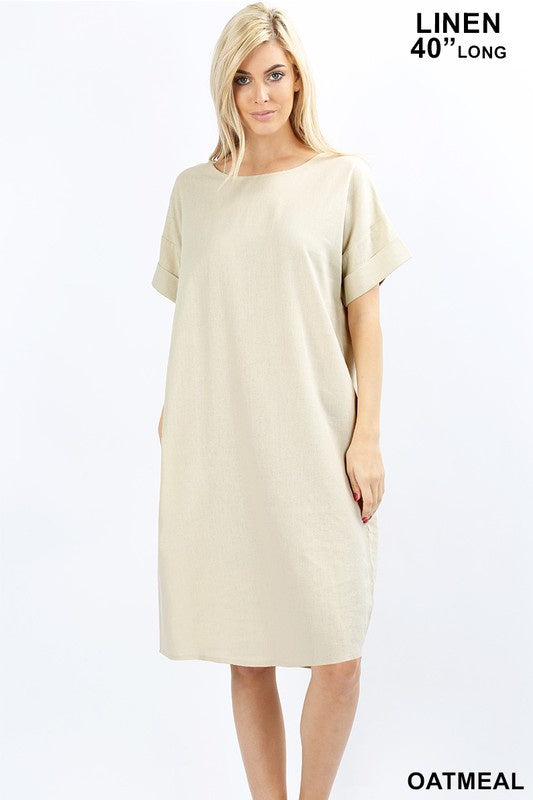 Linen  Short Sleeve Dress in Oatmeal