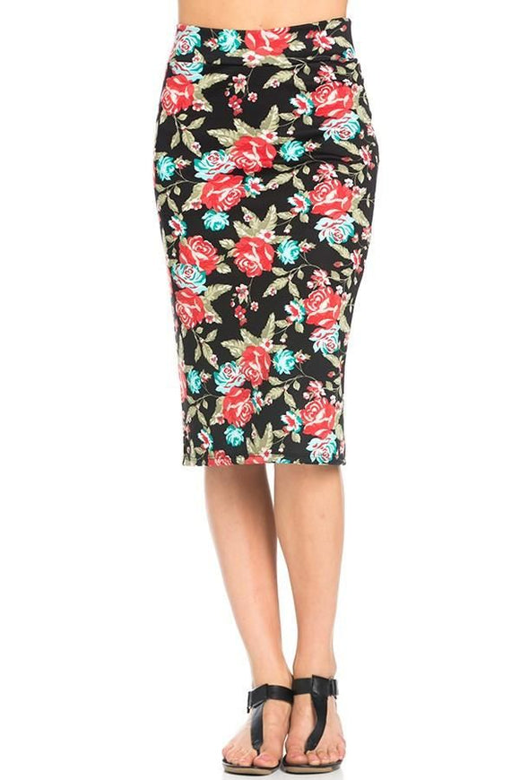 Black Floral Pencil Skirt - - Slim