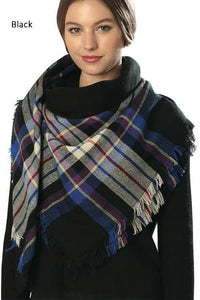 Black Plaid Blanket Scarf - -