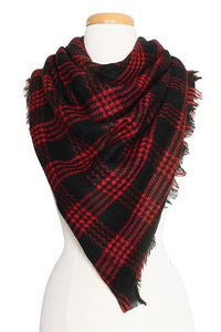 Black & Red Plaid Scarf - -