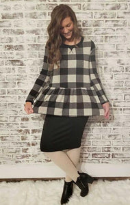 Buffalo Plaid Long Sleeve Top - - Slim Top