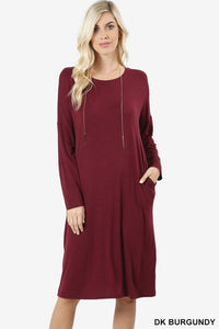 Burgundy Soft & Simple Pocket Dress - - Slim Dress