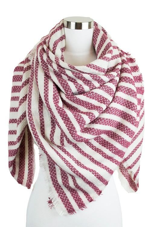 Burgundy Striped Blanket Scarf - -