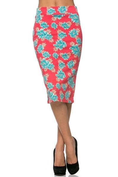 Coral Floral Pencil Skirt - - Slim Skirt