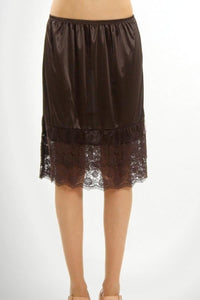 Double Ruffle Slip Extender (Brown Or Navy) - -