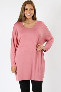 Dusty Rose Tunic (Plus) - - Plus Top