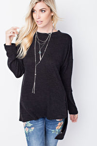 Relaxed Raw Edge Knit Tunic