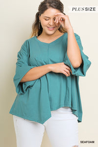 Seafoam Rolled Sleeve Tunic