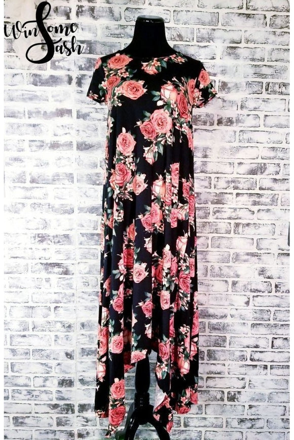 Floral Flowing Maxi- Black & Coral