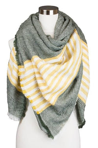 Green And Yellow Plaid Scarf - -