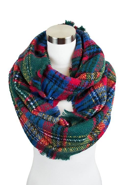 Green Plaid Infinity Scarf - -