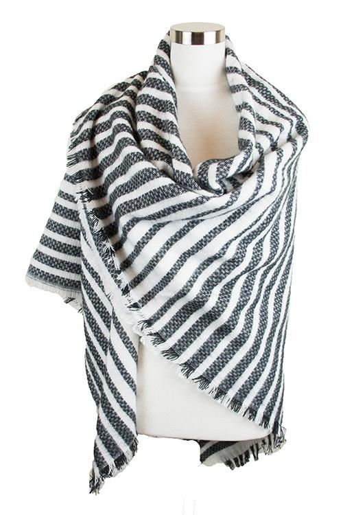 Grey Striped Blanket Scarf - -
