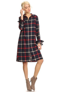 Navy Plaid Shirt Dress - - Slim Dress
