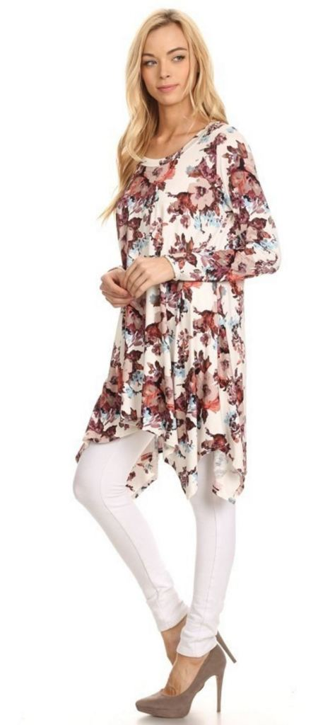 Nora - Cream Floral - - Slim Top