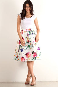 Off In My Own Whirl Midi Skirt Blossoms - - Slim
