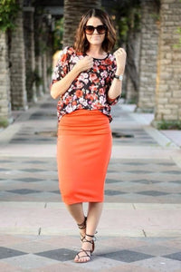 Orange Pencil Skirt - - Slim Skirt