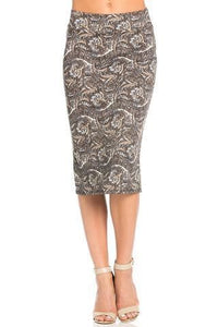Paisley Pencil Skirt - - Slim Skirt