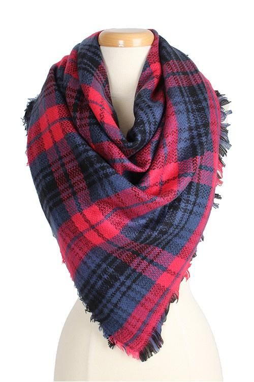 Pink & Navy Plaid Blanket Scarf - -