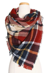 Plaid Blanket Scarf - -