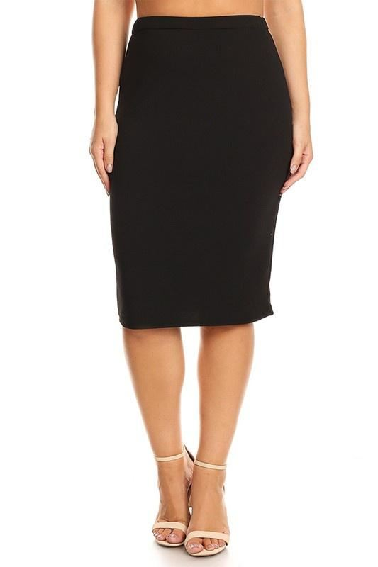 Plus Black Pencil Skirt - - Plus Skirt