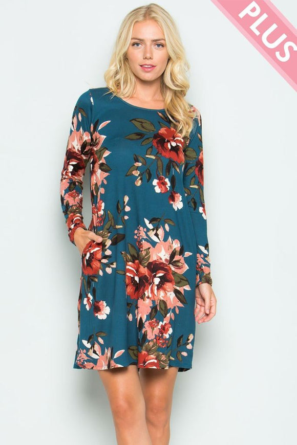 Plus Floral Teal Tunic - - Plus Top