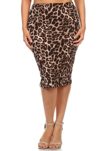 Plus Leopard Skirt - - Plus Skirt