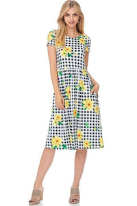 Poised For Picnics- Yellow - - Slim Dress