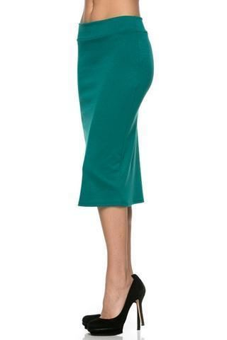 Teal Pencil Skirt - - Slim Skirt