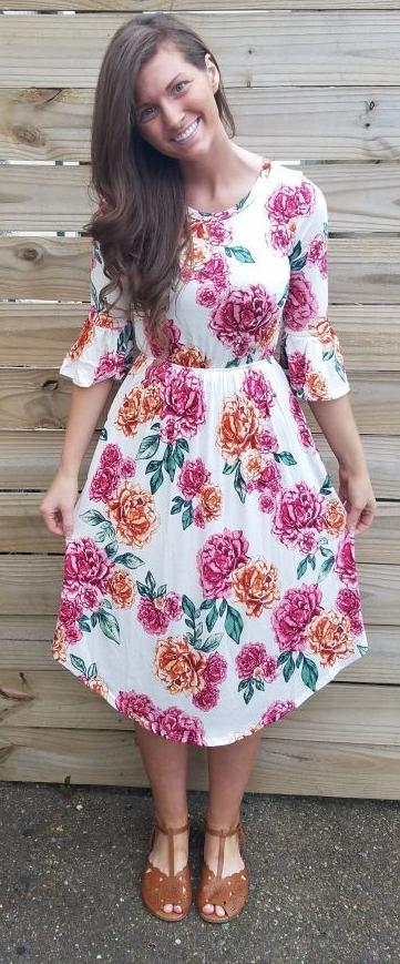 Wishing And Wowing Midi Dress In Roses - - Slim Dress