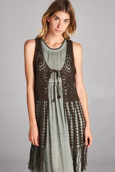 Woven Vest (Olive Or Grey) - - Slim Dress
