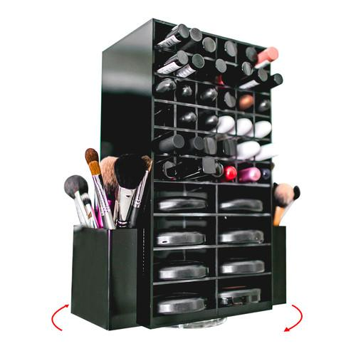 N2 Cosmo Spinning Acrylic Makeup Organizer (Black) - USA - N2 Makeup Co - Acrylic Makeup Organizers