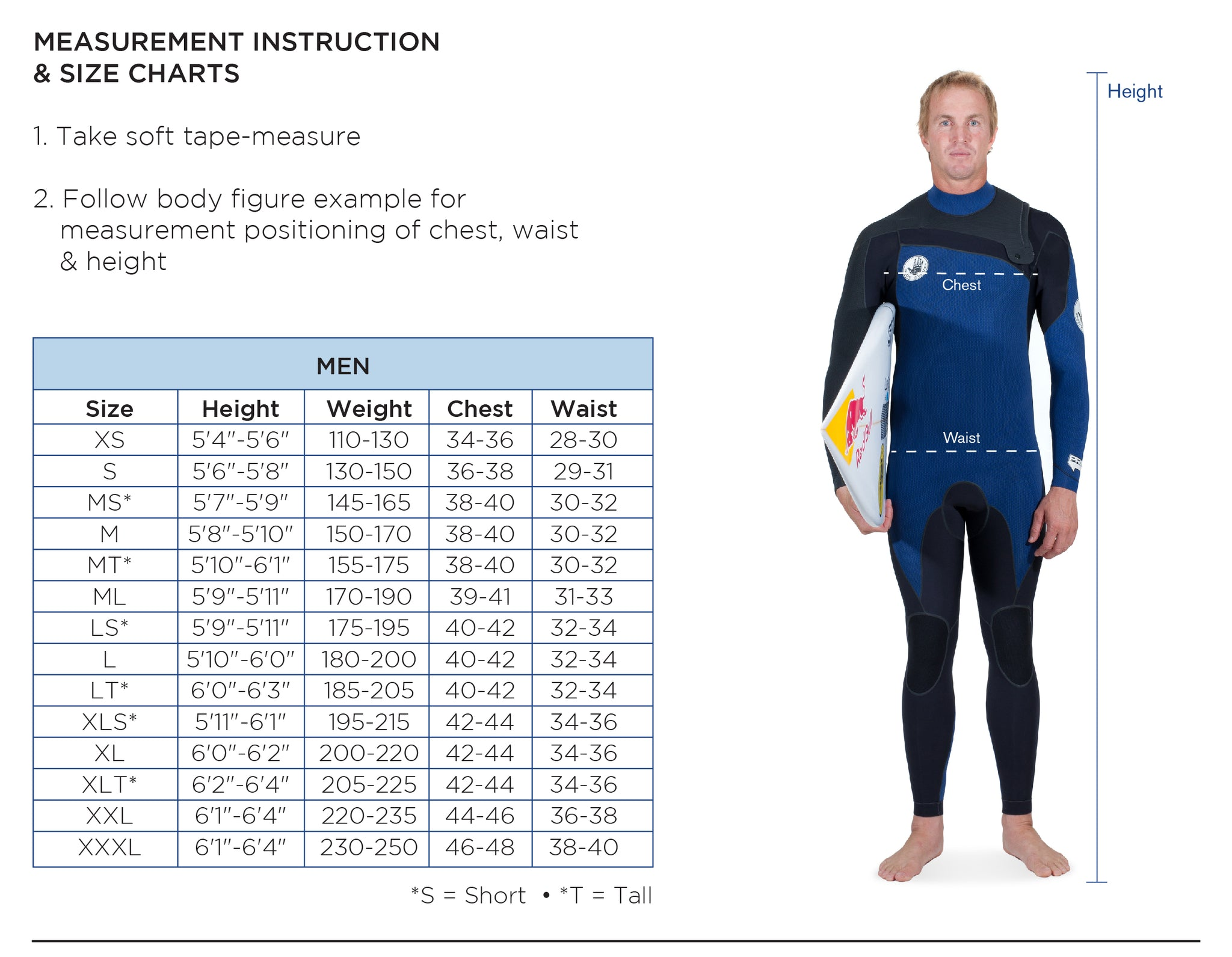 Wetsuit size chart body glove for Mens shirts tall sizes