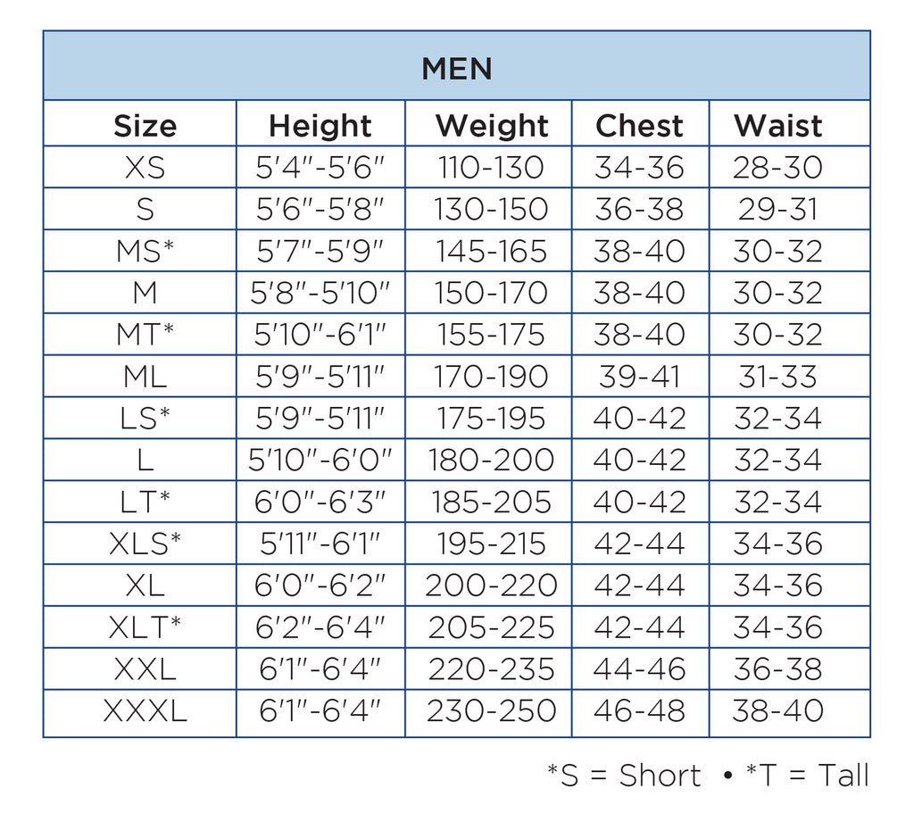 Wetsuit Size Chart – Body Glove