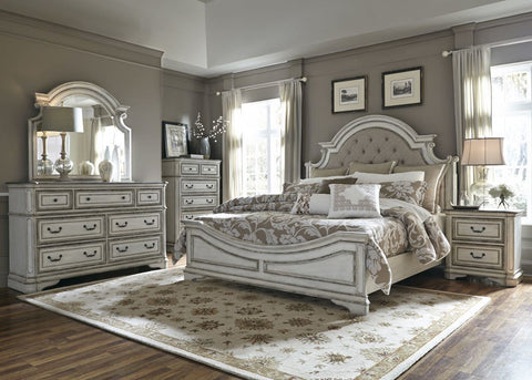 Liberty 244BR Magnolia Manor King Bedroom Group Antique White
