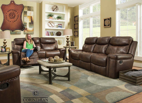 Corinthian 90301 Sofa & Loveseat w/ Console 100% Genuine Leather Match Softie Driftwood
