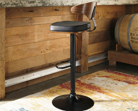Ashley D120-330 Bellatier Tall Uph Swivel Barstool (1/CN) Brown/Black