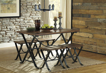 Ashley D311-225 Freimore Rect Table w/4 stools Dining Height Set (5/CN)