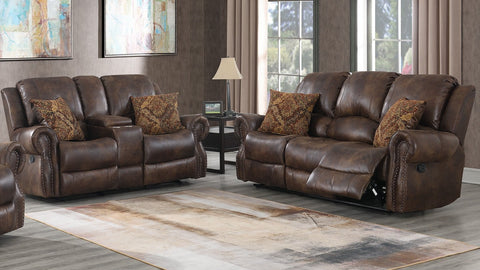 SouthCo DL7032 Wyoming Mocha Dual Reclining Sofa & Gliding Reclining Love w/ console