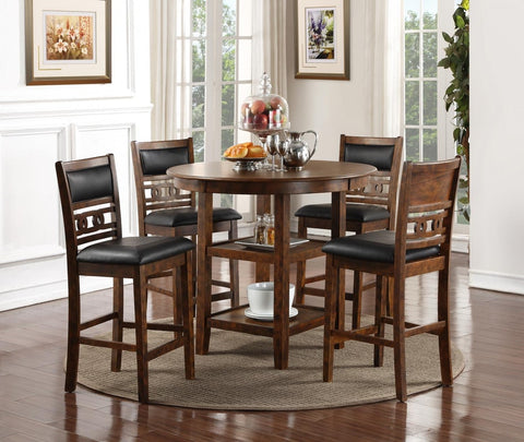 New Classic D1701-52S-Brown Gia 5pc Counter Dining Set