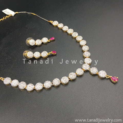 Delicate Zircon Necklace with red Stone