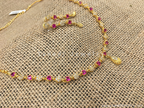 Delicate Zircon Necklace with White and Pink Stones