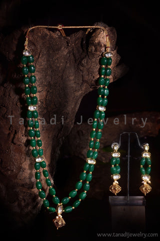 2 Strings Green Stone Mala with Kundan