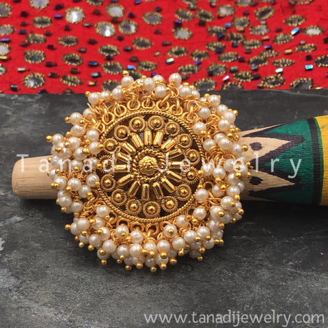 Finger Ring  - Golden  Moti Cluster - White Moti
